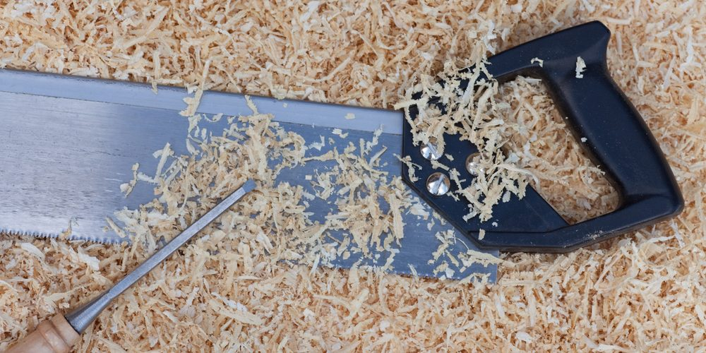 wood shavings from a saw cutting timber in the garage