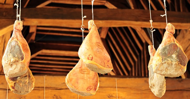 How to preserve meat with salt - hanging ham during drying process