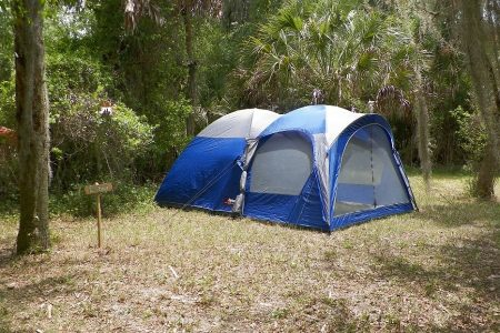Best Tent With Screen Room Blue Tent Set Up On Camp Site - The Skilled Survivor